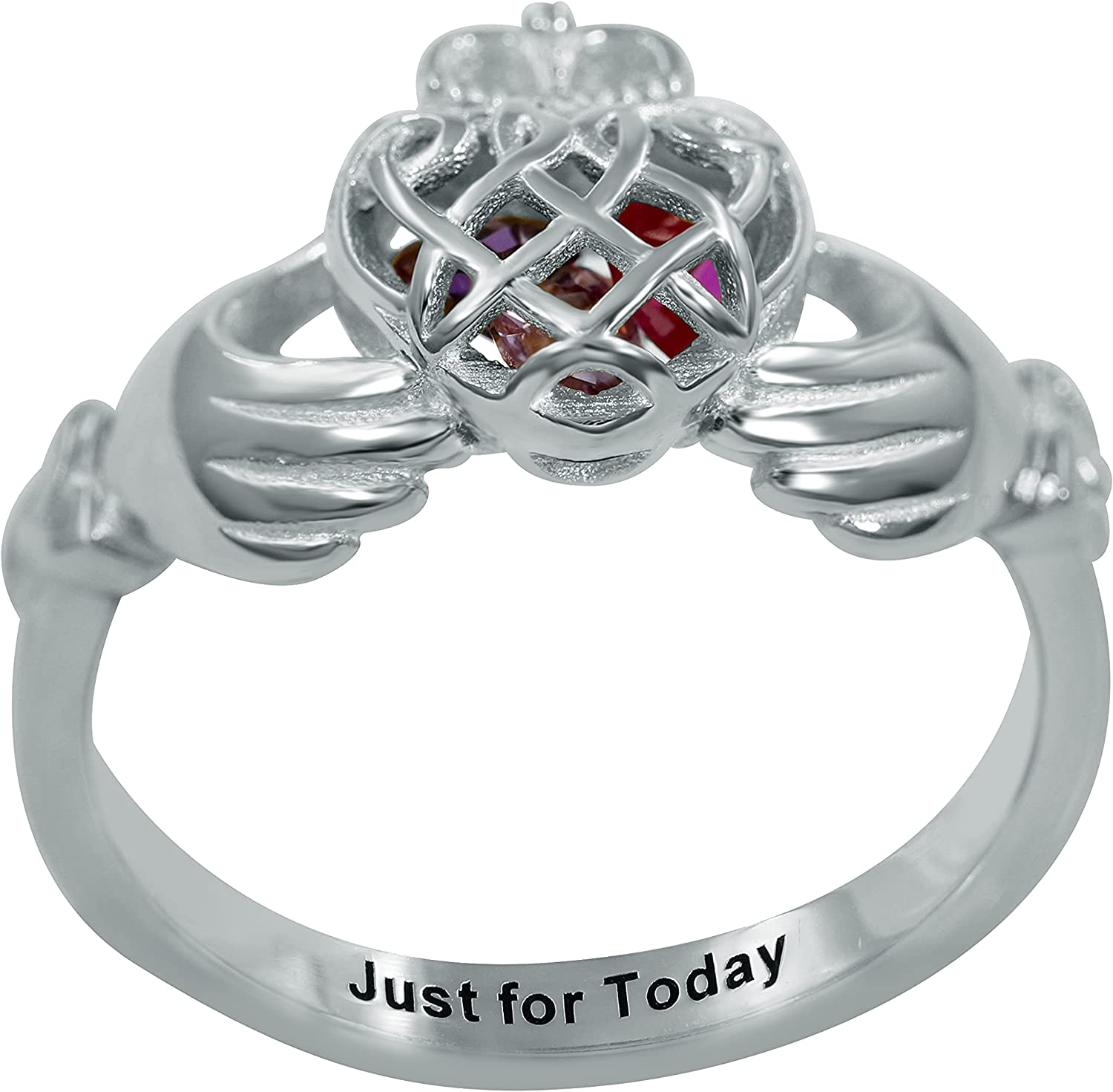 Claddagh Ring Personalized Animer and We OFFer at cheap prices price revision Name Engraved Birthstone Love Cro