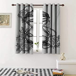 shenglv Tattoo Customized Curtains Pencil Drawing Romantic Theme Hourglass Symbol of Eternal Love with Roses Print Curtains for Kitchen Windows W63 x L45 Inch Black and White