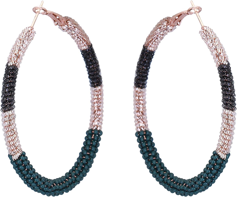 El Allure Dark Green Twisted Wire Crochet Trendy Handmade Partywear Shimmer Seed Bead Dangle Hoop Earring