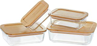 Glass Food Storage Containers with All-Natural Bamboo Lids (Set of 4)
