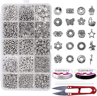 Jewelry Spacers - Spacers Beads 450Pcs Spacers Charms 15 Style Jewelry Finding Accessories Silver Large Hole Brass Spacers Bulk Charms for Jewelry Making Beads Caps for Bracelet Making Teens