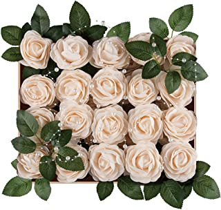 Meiliy 40pcs Artificial Flowers Peony Cream Rose Heads Real Looking Foam Peonies Bulk w/Stem for DIY Wedding Bouquets Boutonnieres Corsages Centerpieces Wreath Supplies Cake Flower Decorations …