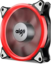 Aigo, Halo LED Ring Fan 120mm 12cm PC CPU Computer Case Cooling Neon Quite Clear Fan Mod 4 Pin/3 Pin (Red)