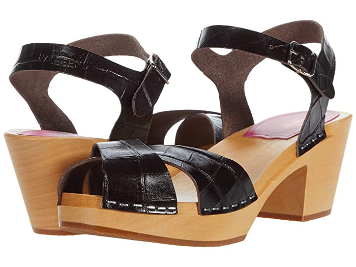 70s Shoes, Platforms, Boots, Heels Swedish Hasbeens Mirja Dark Brown Croc Womens Shoes $260.00 AT vintagedancer.com