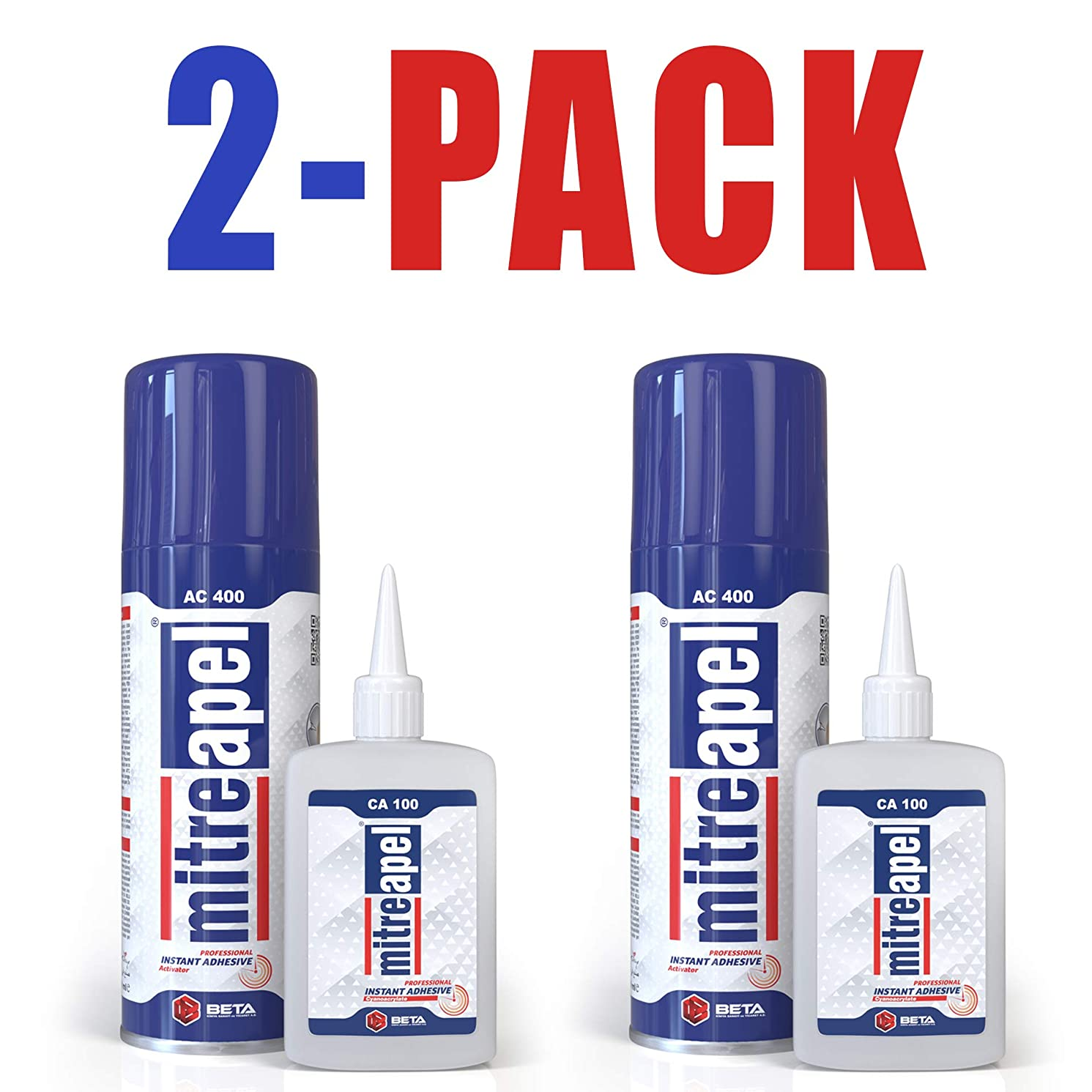 MITREAPEL Super CA Glue (3.5 oz.) with Spray Adhesive Activator (13.5 fl oz.) -Crazy Clear Craft Glue for Wood, Plastic, Metal, Leather, Ceramic - Cyanoacrylate Glue for Crafting and Building (2 Pack)