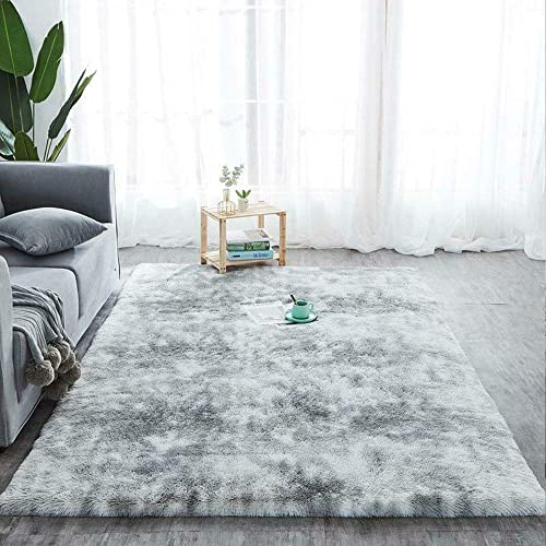 popular Home Decor Fluffy Area Rug, Safe and Nursery Playing Area for Kids, Super high quality Soft and Anti-Slip Luxury Mat in Living Room, Bedroom, and Cozy Office (5x7.5 ft outlet sale / 160x230 cm, Water Gray) outlet online sale