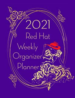 2021 Red Hat Weekly Organizer Planner: Dated Two Page Spread Planner Journal for Ladies who Like to Wear Fancy Red and Purple