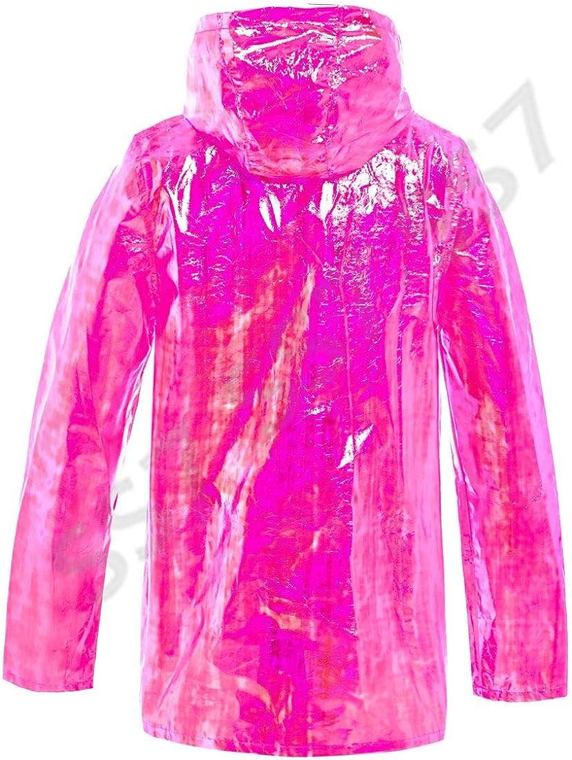 SS7 Womens Holographic Rain Mac Waterproof Raincoat Ladies Pink Jacket Size 8-16