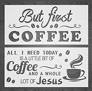 GSS Designs 2 Word Art Stencil Set(8x17 inch) But First Coffee Stencil Home Decor,Calligraphy Stencils for Painting on Wood, DIY Farmhouse Wood Kitchen Signs (SL-015)