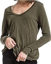 Z SUPPLY Women's The Long Sleeve V Neck Pocket Tee