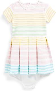 Ralph Lauren Baby Girl Striped Knit Dress & Bloomer 2 Piece Set (White Multi(2001), 9 Months)