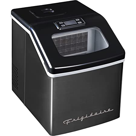 Frigidaire EFIC452-SSBLACK XL Maker, Makes 40 Lbs. of Clear Square Ice Cubes A Day, Black Stainless