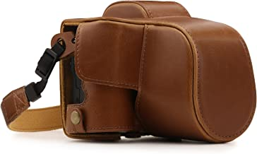 MegaGear MG1448 Ever Ready Leather Camera Case compatible with Canon EOS M50 (15-45mm) - Light Brown