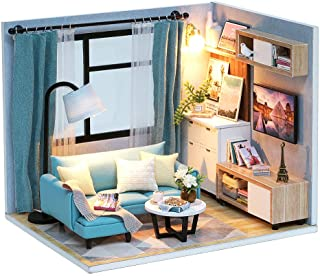 Spilay Dollhouse Miniature with Furniture,DIY Dollhouse Kit Handmade Mini Modern Model Plus with Dust Cover & Music Box ,1...