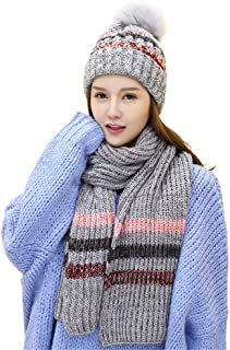 Remeehi Hat and Scarf Two-piece Female Winter Fashionable New Type Gray