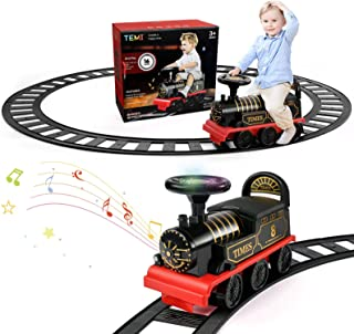 TEMI Ride On Train with Track Electric Ride On Toy w/ Lights & Sounds Storage Seat Train Toy Ride for Kids Birthday Gift R...