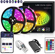 YORUKAU Led Strip Lights - RGB 300 LEDs - Controlled by WiFi Smart Phone - Bluetooth or 24 Key Remote - Waterproof - Led Lights for Room - 10M/32.8Ft SMD 5050 12v Power Supply
