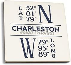 Lantern Press Charleston, South Carolina - Latitude and Longitude (Blue) (Set of 4 Ceramic Coasters - Cork-Backed, Absorbent)