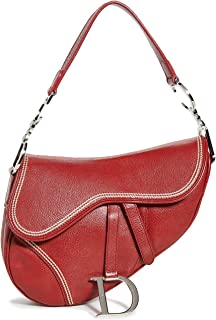 What Goes Around Comes Around Women's Dior Red Leather Saddle Bag, Red, One Size