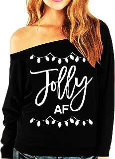 Jolly AF Women's Christmas Slouchy Sweatshirt Black by NoBull Woman
