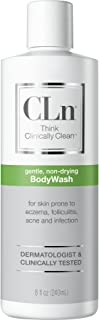 CLn Physician-Developed Therapeutic Body Wash for Skin Prone to Eczema (Atopic Dermatitis), Rash, Folliculitis (Ingrown Hairs, Razor Bumps), Acne, and Infection, 8 oz.