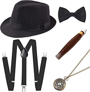 BABEYOND 1920s Mens Gatsby Gangster Costume Accessories Set Panama Hat Suspender