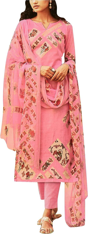 Cotton Linen Printed Salwar Kameez Suit with Pure Chiffon Dupatta & Pants