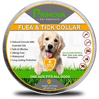 Primova - Flea and Tick Collar for Dogs - Enhanced with Natural Essential Oils - 8 Months Protection - Allergy Free - Adjustable & Waterproof - Repels Fleas & Ticks - One Size Fits All