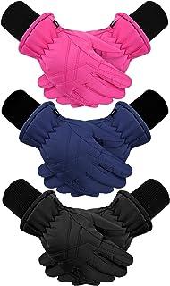 3 Pairs Kids Winter Warm Gloves Windproof Ski Gloves...