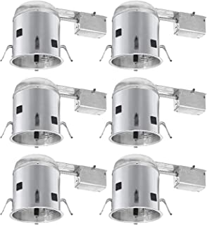 TORCHSTAR 6 Pack 6-Inch UL-Listed Remodel Can, Air Tight IC Housing, E26 Socket Included, for Recessed Housing, 120V Line Voltage