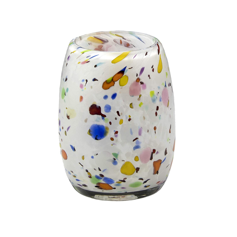 Votive Candle Holder. Hand Blown San Jose Mall Art in Bombing new work Glass White Studio Mix.