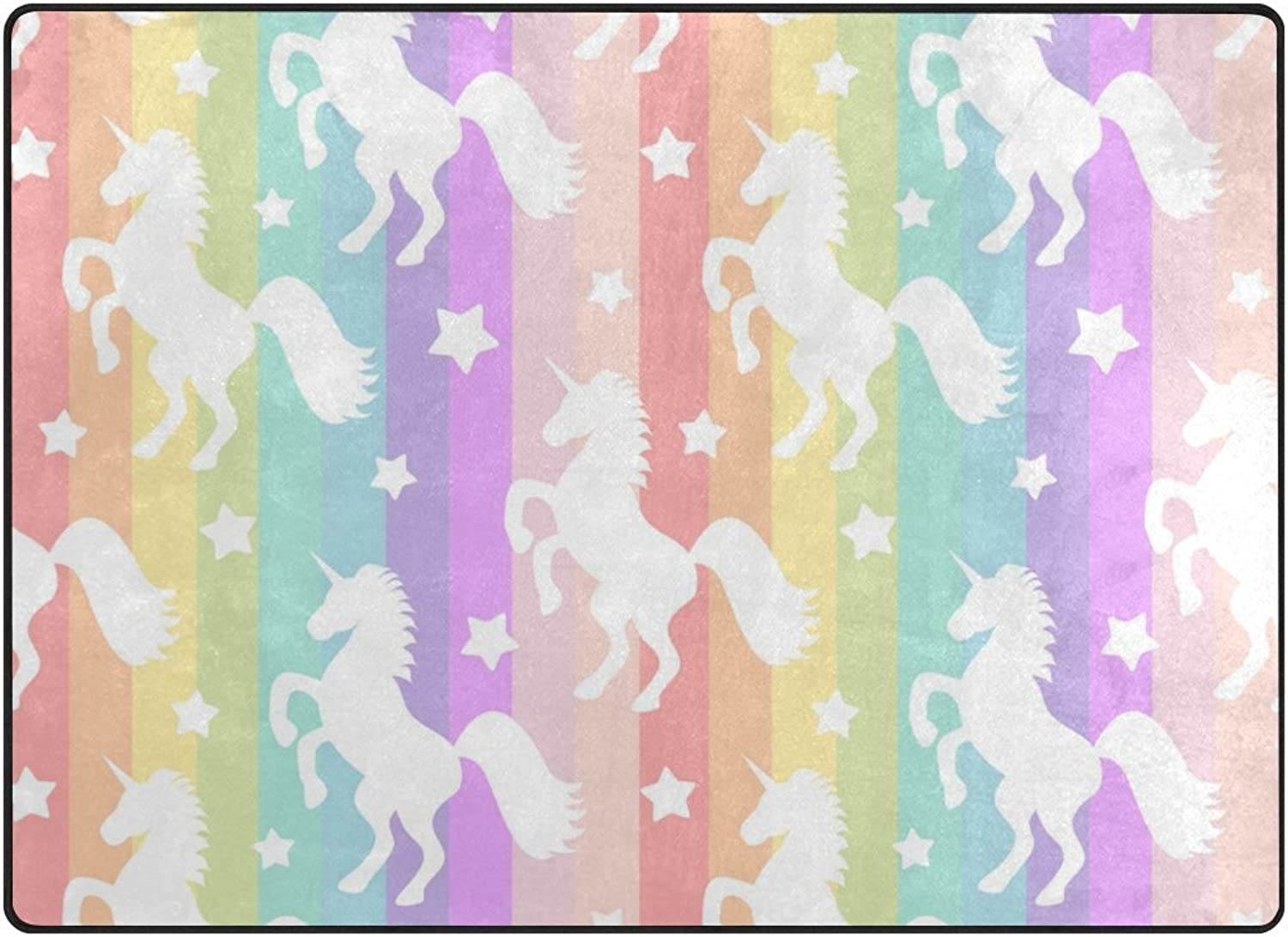 SUABO 80 x 58 inches Area Rug Non-Slip Floor Mat Cute White Unicorn Printed Doormats for Living Room Bedroom