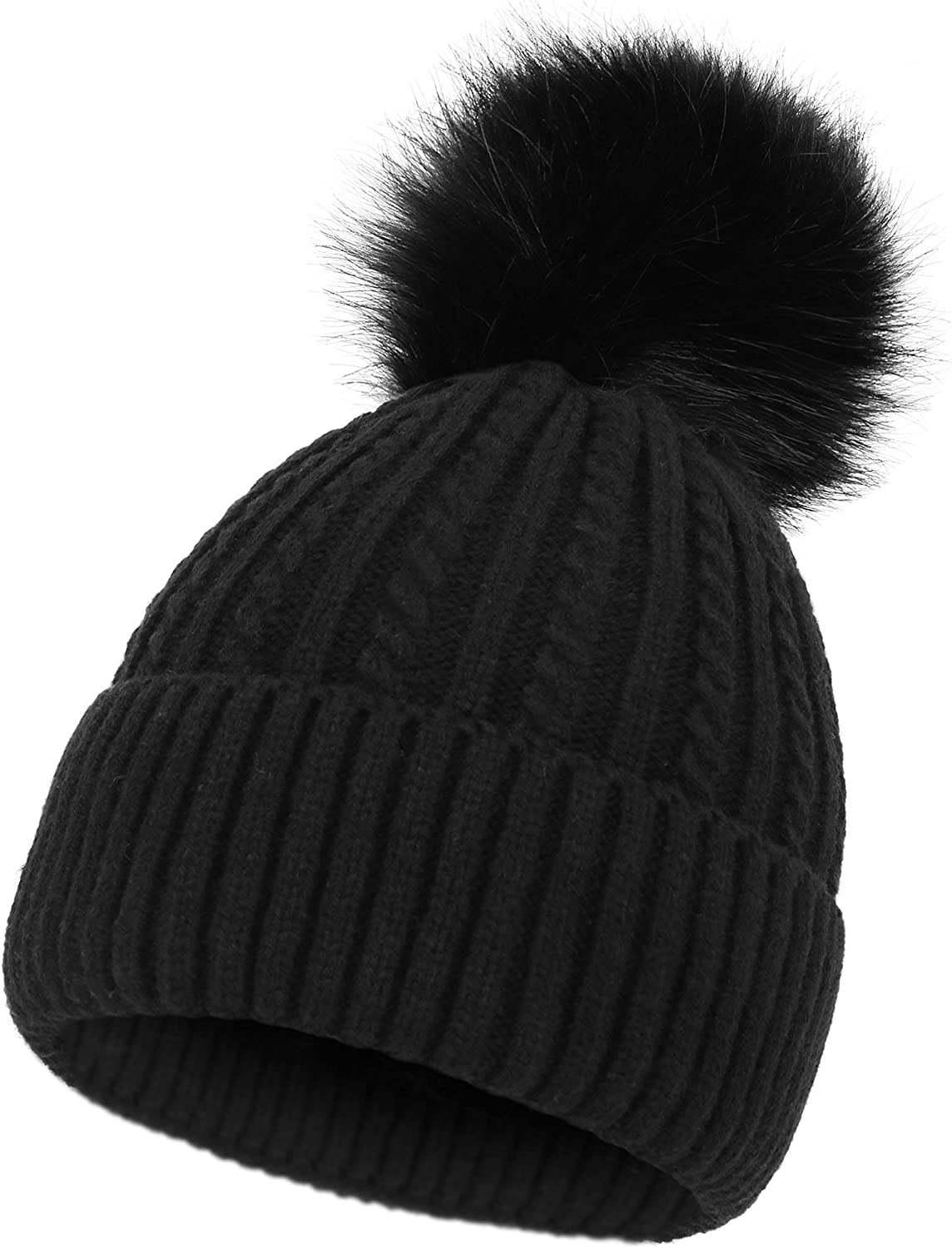 Great interest Simplicity Womens Beanie Hat Spring new work one after another Winter Lined Fleece Warm Cable