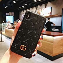iPhone Xs Max Case, Premium PU Luxury Stylish Designer Fashion Leather Cover Case (Black)