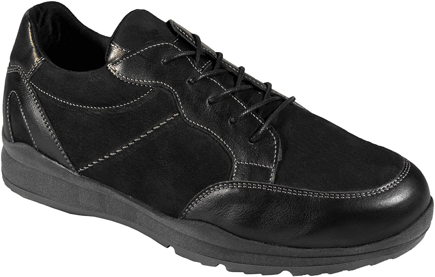 DB's Men's Extra Wide Lace Up Trainers Bill in Black 6E - 8E Extra Extra Wide, Extra Extra Wide and Deep