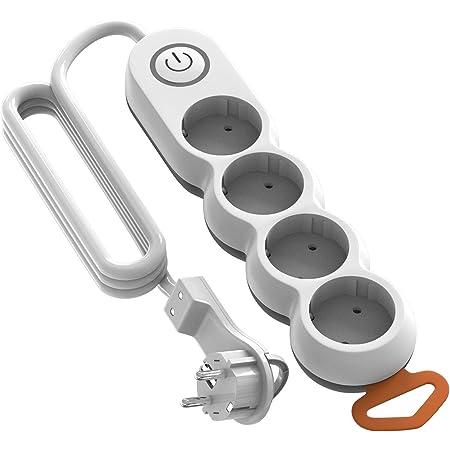 Garza - Regleta de 4 enchufes con interruptor y protección infantil, enchufe plano, cable de 1,4 metros
