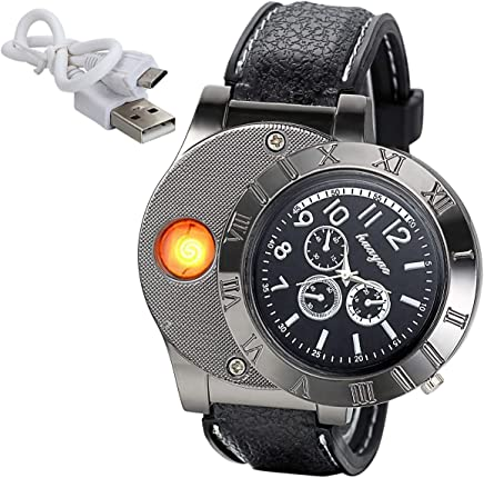 JewelryWe Mens Novelty Cigarette Lighter Watch USB Charging Windproof Quartz Wrist Watch