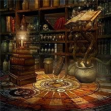 CSFOTO 5x5ft Enchanter Backdrop Magician's Studio Magic Photography Background Magician Book Shelf Jar Skull Magical Candle Interior Decoration Studio Props Children Kid Portrait Wallpaper