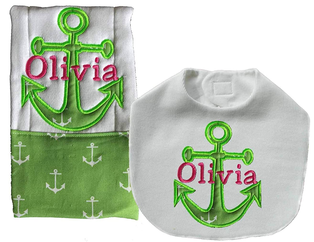 Green Nautical Baby Girl Bib And Burp Cloth Set