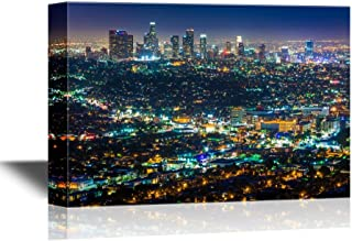 wall26 - USA City Skyline Canvas Wall Art - Downtown Los Angeles Skyline at Night, from Griffith Observatory, California - Gallery Wrap Modern Home Decor | Ready to Hang - 24x36 inches