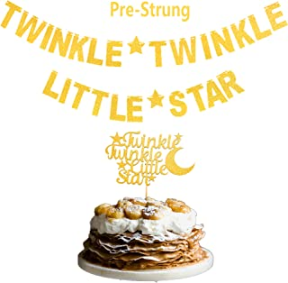 Glittery Gold Twinkle Twinkle Little Star Banner & Cake Topper for Birthday Party Baby Shower Party Kids Birthday New Year and Christmas Party Decorations