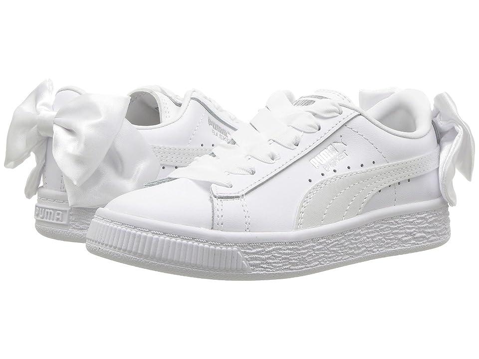 puma kids' basket bow slip on sneaker