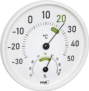 TFA Dostmann 45.2045.02 - Termómetro e higrómetro analógico para Interior y Exterior con Zonas de Confort de Color, Color ...