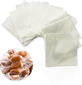 Clear Candy Wrappers for Caramels (600 pcs 5 x 5 Inches) - Candy Wrappers - Caramel Wrappers - Candy Wrappers for Chocolate - Clear Cellophane Wrappers - Hard Candy Wrappers - Lollipop Wrappers