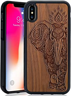 Wood Case for iPhone X, Wood Pattern [Laser Printing] Rugged [Dual Layer] High Impact Durable Back Wooden Case Cover for Apple iPhone X (Elephant)