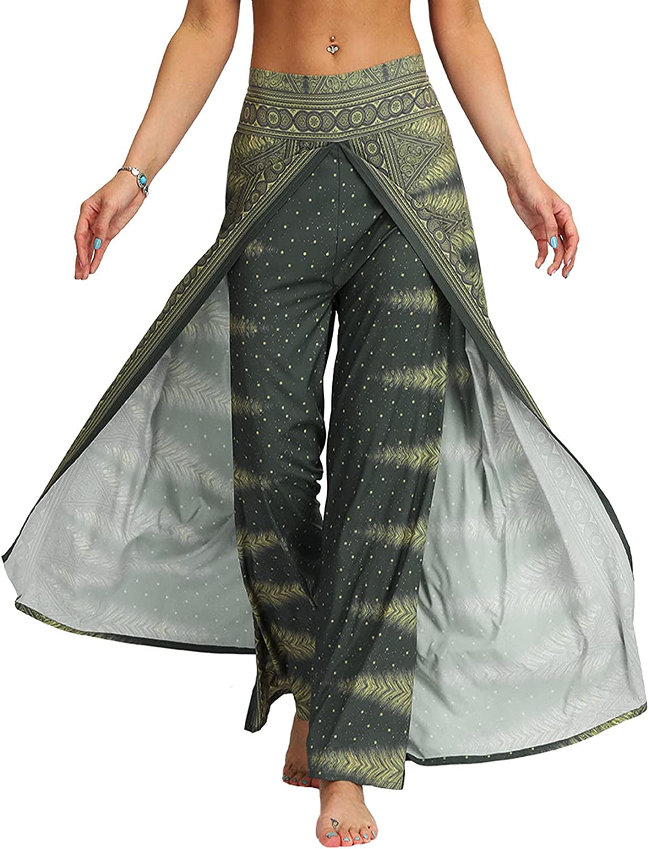 XIOLAUD Womens Casual Slit Wide Hippie Leg Bohemian Pants List Raleigh Mall price Pilate