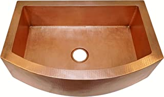 Soluna Copper Farmhouse Sink with Rounded Apron Front - 30