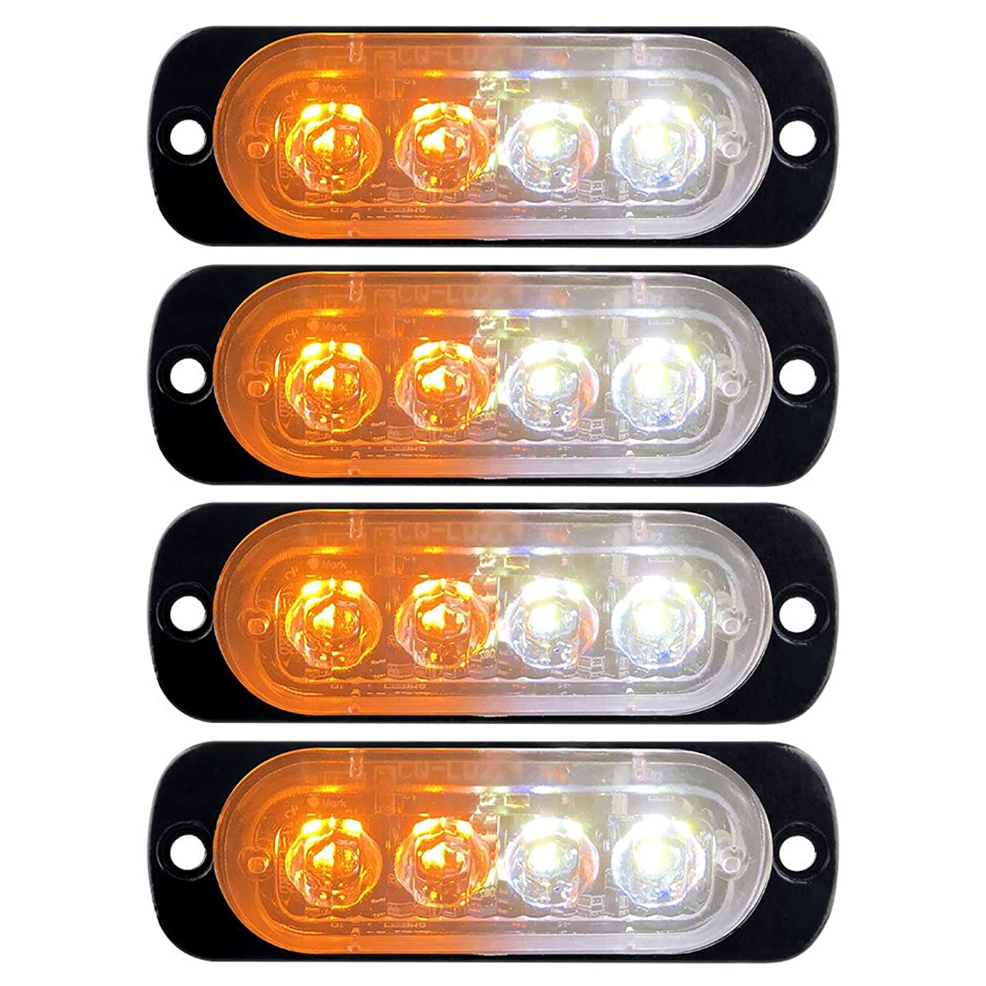 Super Bright Emergency Strobe Warning Light Bar Flash Beacon Caution Police Light Surface Mount for Car Truck Trailer Motorcycle 12-24V Amber&White-4PCS