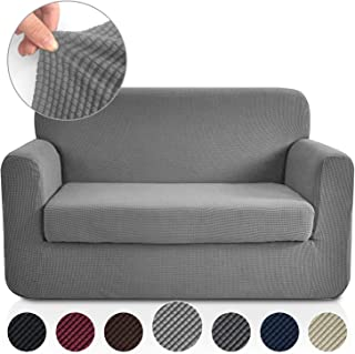 RHF 2 Separate Pieces Loveseat Cover, Slipcovers for Couches and Loveseats with Separate Cushion Cover Jacquard High Stretch Loveseat Slipcover&Couch Cover for Dogs(Loveseat: Light Grey)