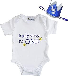 Baby Boys Blue Half First Birthday White Bodysuit & Crown Headband